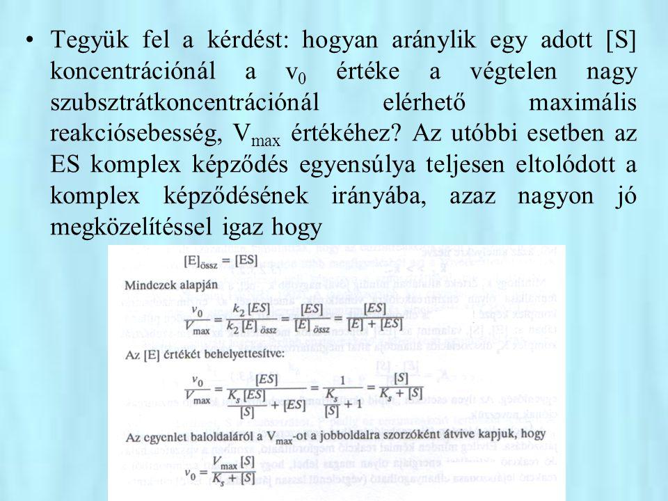 Tegyük fel a kérdést: hogyan aránylik egy adott [S] koncentrációnál a v0 értéke a végtelen nagy szubsztrátkoncentrációnál elérhető maximális reakciósebesség, Vmax értékéhez.